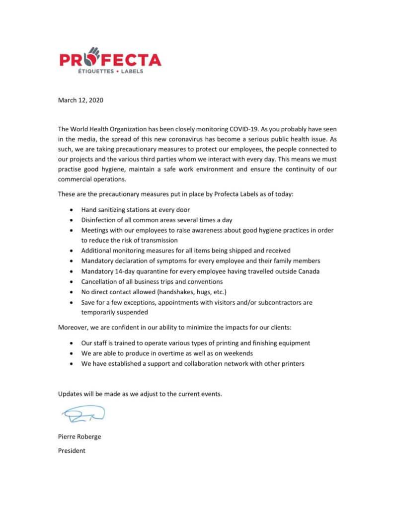 Preventive measures Covid-19 - Profecta